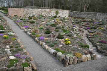 A view of the rockeries in April 2008, one year after planting